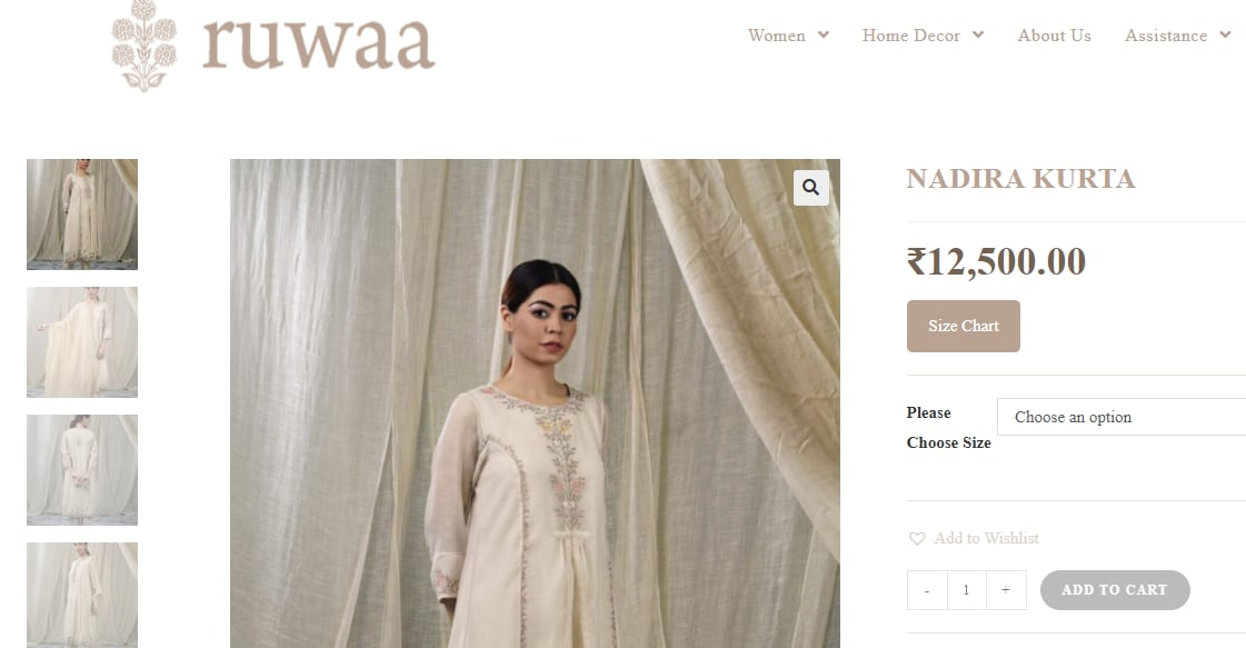 Nora Fatehi's kurta is priced at ₹12500 in Ruwaa's website.(https://www.ruwaa.co.in/)