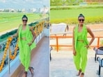 PV Sindhu once again gave her fans a glimpse of her stylish self as she posed in a neon green outfit.(Instagram/@pvsindhu1)