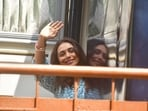Rani Mukerji waves to her fans at a shoot location in Bandra.