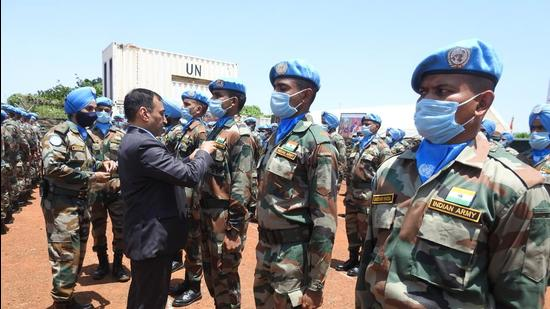 As many as 836 troops from the Indian Army serving with the UN peacekeeping mission in South Sudan have been awarded the United Nations medal for their services. (Twitter/@eoijuba)