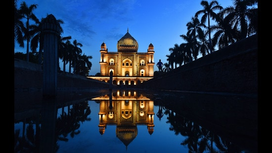 A preview of Safdarjung Tomb, illuminated with 212 state-of-the art mono LED lights, New Delhi, July 18, 2019 (Raj K Raj/HT PHOTO)