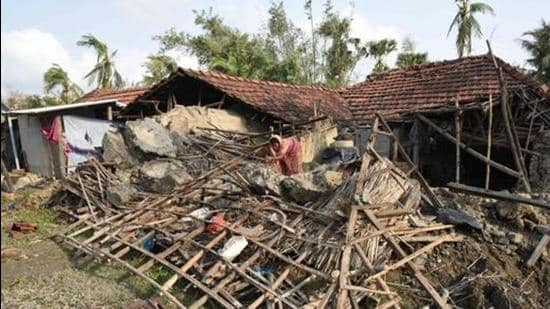 A house at Kakdwip in the Sunderbans damaged due to Cyclone Amphan in West Bengal. (HT Photo/File)