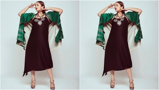 """Huma took to Instagram recently to share pictures from her latest photoshoot. The star captioned the post, """"Huma meaning Mythical Bird of Paradise."""" She chose a simple slip dress and paired it with the most unique wrap jacket for the pictures.(Instagram/@iamhumaq)"""