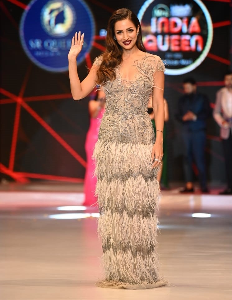 Malaika Arora in the silver embellished gown.