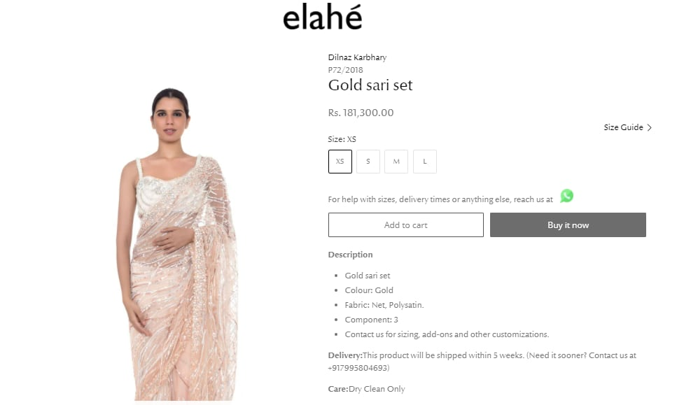 The gold saree, worn by Mouni in the picture, is priced at a whooping ₹181,300 in the website.(https://www.elahe.in/)