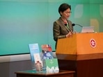 Hong Kong Chief Executive Carrie Lam speaks during a news conference following the annual policy address in Hong Kong, China October 6, 2021.(REUTERS)