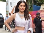 Madhuri Dixit, one of the judges of Dance Deewane 3, dazzled in a lilac lehenga. She completed her look with a choker and maang teeka.(Varinder Chawla)