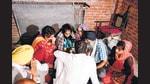 Congress leaders Rahul Gandhi and Priyanka Gandhi Vadra meet the family of deceased farmer Lovepreet who lost his life in Lakhimpur Kheri incidence, in Lakhimpur Kheri on Wednesday. (ANI)