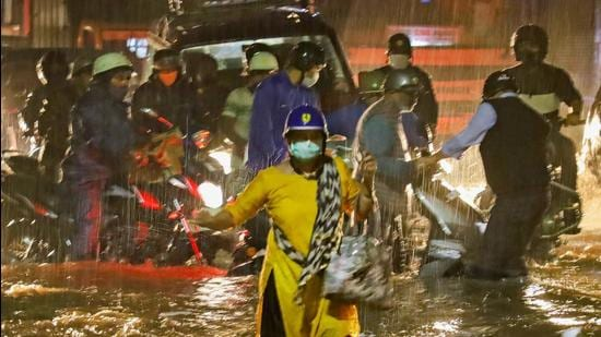 Bengaluru city on Sunday recorded the highest rainfall in October since 1997, as the withdrawing monsoon triggered a heavy downpour and thunderstorms that flooded several neighbourhoods. (PTI)