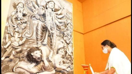 West Bengal chief minister Mamata Banerjee inaugurated some of the big puja pandals on Wednesday. (PHOTO CREDIT: TMC.)