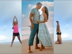 Milind Soman and Ankita Konwar lay couple, fitness and travel goals all at once with their sizzling Yoga workout at Gujarat beach(Instagram/milindrunning)