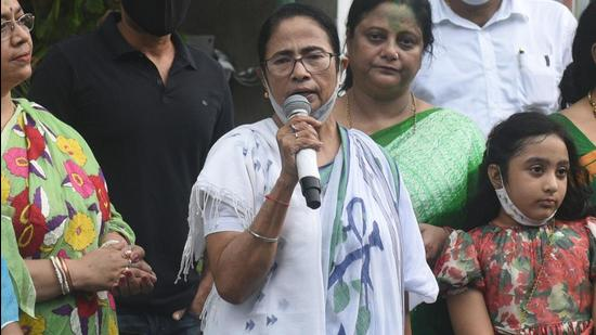 The four candidates of West Bengal chief minister Mamata Banerjee's Trinamool Congress (TMC) filed their nomination papers on Thursday for the assembly bypolls in Dinhata in north Bengal, and Santipur, Khardah and Gosaba in south Bengal (Samir Jana/HT Photo)