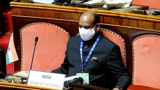 Lok Sabha Speaker Om Birla during the Inaugural Session of the 7th G20 Parliamentary Speakers' Summit at Senate of the Republic, in Rome on Thursday.(ANI)