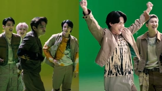 BTS members during the making of My Universe.