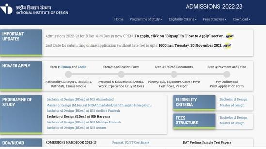 NID 2022 Application process begins for B.Des. & M.Des., check details here