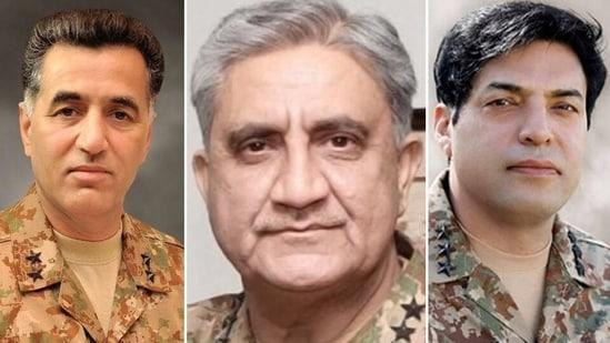 From left: Lt Gen Faiz Hameed, Pakistan Army chief General Qamar Bajwa and new ISI chief Lt Gen Nadeem Anjum.