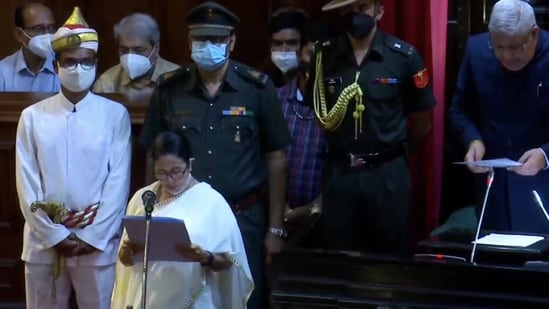 The oath of office to all three MLAs, including Mamata Banerjee, was administered by governor Jagdeep Dhankhar(ANI)