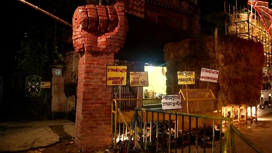 A Durga Puja pandal by Dum Dum Park Bharat Chakra Puja Committee in Kolkata.(ANI)