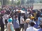 Funeral procession of Supinder Kaur, who died in Thursday's terrorist attack.