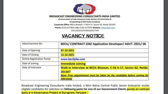BECIL recruitment 2021: Apply for SAP / ABAP Developer and other posts