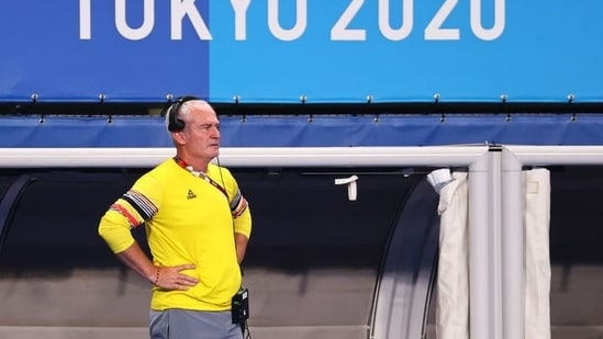 Shane McLeod the coach of Belgium looks on.(REUTERS)