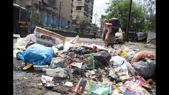 Garbage by a roadside. The Navi Mumbai civic body, NMMC, will develop a waste composting unit in each of its 41 slums. (RISHIKESH CHOUDHARY/HT FILE PHOTO)