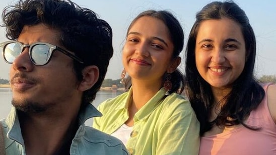Ahsaas Channa with her Kota Factory co-stars Mayur More and Revathi Pillai.