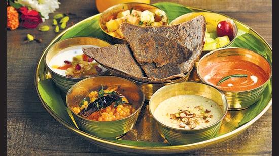 Navratri thali with scrumptious food spread