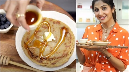 Navratri 2021: Shilpa Shetty shares her easy Oatmeal Banana Pancakes recipe(Instagram@theshilpashetty/YouTube@ShilpaShettyKundra)