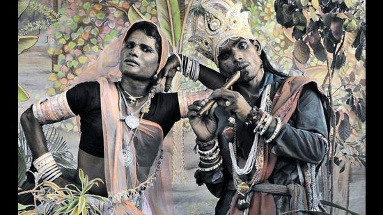 Hand-coloured photographs of Mewar's Gauri dancers community are on exhibition in Gurugram.