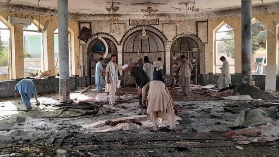 People view the damage inside of a mosque following a bombing in Kunduz, province northern Afghanistan, on Friday, October. 8, 2021.(AP)