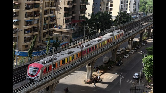 The Navi Mumbai Metro corridor between Central Park in Kharghar to Pendhar could become operational by end of December this year if all goes as per plans. (BACHCHAN KUMAR/HT FILE PHOTO)
