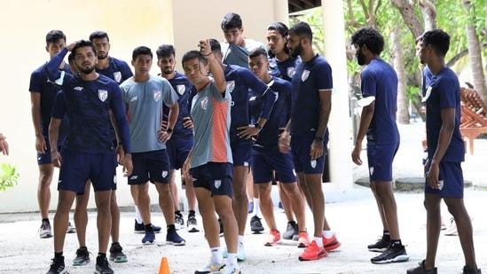 Indian football team faces Nepal(Indian football team / Twitter)