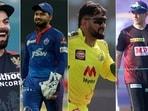 Virat Kohli, Rishabh Pant, MS Dhoni and Eoin Morgan.(IPL/Twitter)