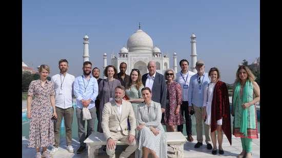 Danish PM and her husband accompanied by a delegation stayed at the Taj Mahal for over an hour (HT photo)