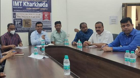 Officials of the state industrial corporation held a press conference after recovery of dues from factory owners at the Gymkhana Club in Sector 29 in Gurugram.