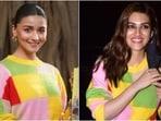 Alia Bhatt and Kriti Sanon's <span class='webrupee'>₹</span>2.7k colour-block crop sweater will easily revamp your style