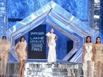 Kareena Kapoor walked the ramp in a white and silver one-shoulder gown at LFW grand finale. (Varinder Chawla)