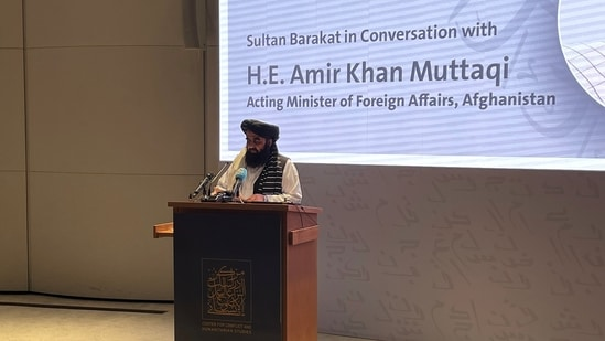 Afghanistan's acting Foreign Minister Amir Khan Muttaqi speaks at the Doha Institute, in Doha, Qatar(REUTERS)