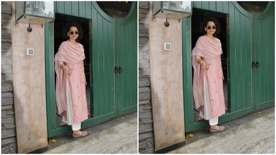 Kangana Ranaut set fashion police on immediate alert with her look of the day. The actor adorned a rose pink chikankari salwar suit as she made her way to her office.(HT Photos/Varinder Chawla)