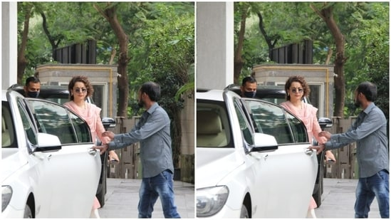 Kangana was clicked getting out of her car, while looking her traditional best.(HT Photos/Varinder Chawla)