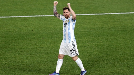 Lionel Messi of Argentina celebrates after scoring the first goal of his team.(Getty)