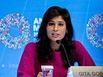 Gita Gopinath, chief economist at the International Monetary Fund (IMF) speaks at a World Economic Outlook news conference in Washington on Tuesday.(Bloomberg)