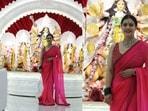 Kajol visited the Durga Puja pandal at Santa Cruz on Tuesday. She was in a red sari. (Varinder Chawla)