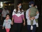 Shahid Kapoor and Mira Rajput returned to Mumbai with their children, Zain and Misha.(Varinder Chawla)