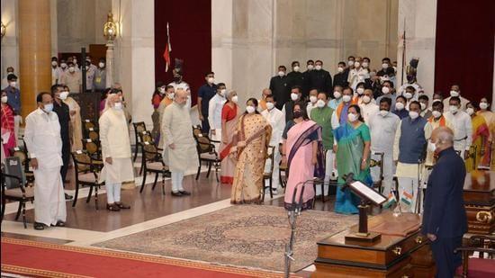 President Ram Nath Kovind, vice-president M Venkaiah Naidu, Prime Minister Narendra Modi and home minister Amit Shah at the the swearing-in ceremony of new ministers, Rashtrapati Bhavan, New Delhi, July 7 (PTI)