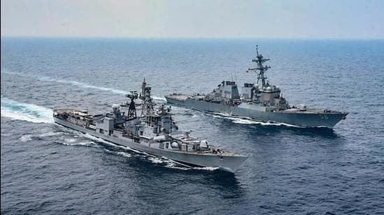 Ships participate in the Malabar naval exercise in Bay of Bengal in November 2020. India and three other Quad countries participated in the exercise. (PTI)