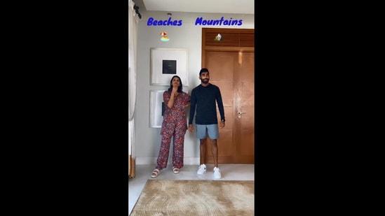 The image shows Jasprit Bumrah and Sanjana Ganesan taking part in viral online trend.(Instagram/@jaspritb1)