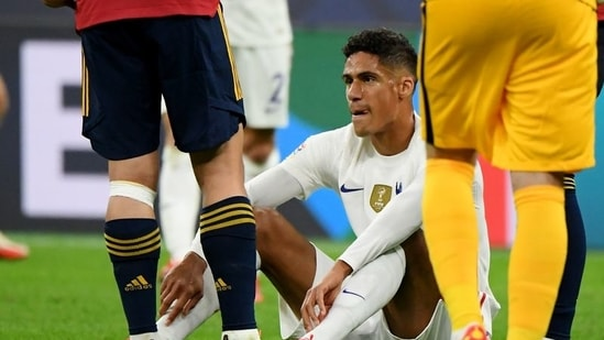 France's Raphael Varane after sustaining an injury REUTERS.(REUTERS)