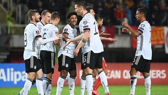 The German team celebrates after Timo Werner's goal.(Getty)